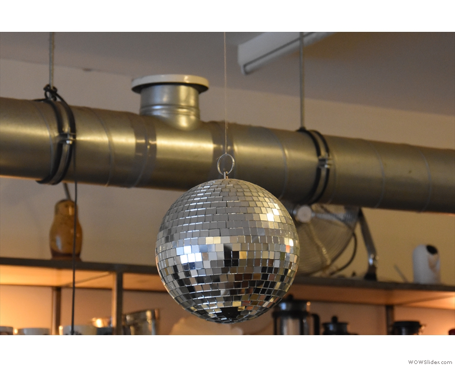 There's also a glitter ball hanging above the counter. Because... well, why not?