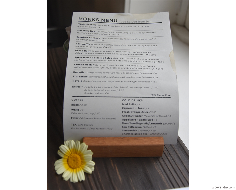 If you're eating, the food menus are on every table.