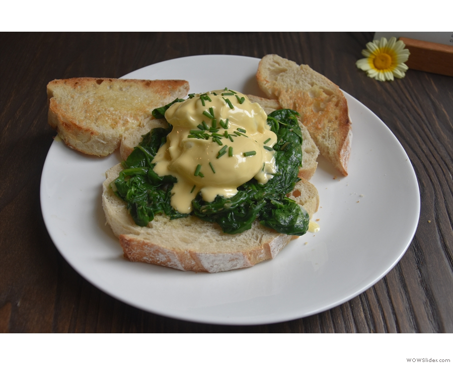 I was also there for lunch, opting for the Eggs Florentine, which I'll leave you with.