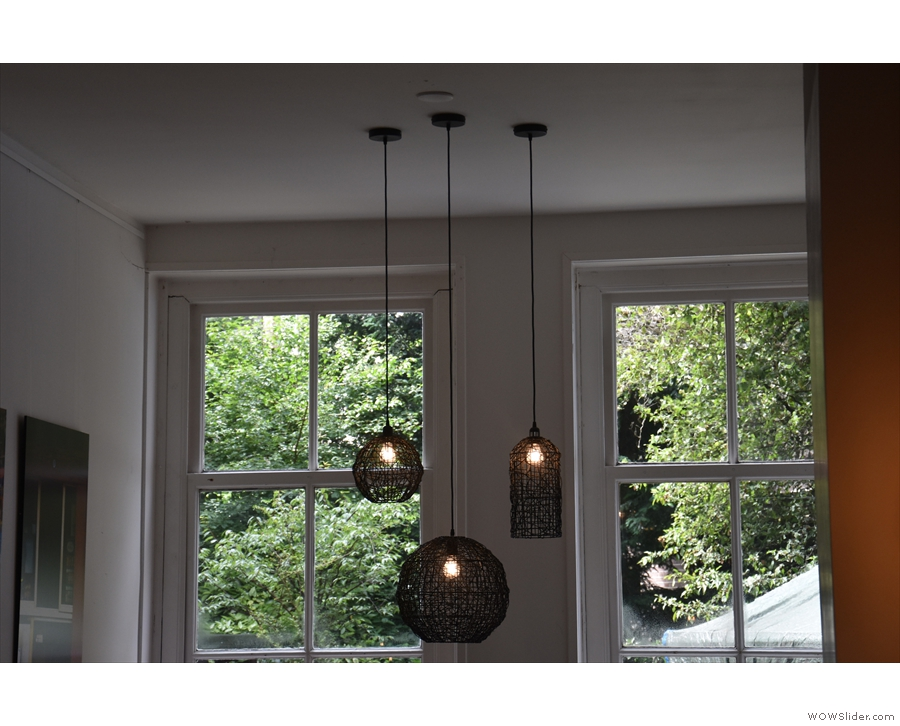 Although there's plenty of natural light, there are also lots of light-fittings.