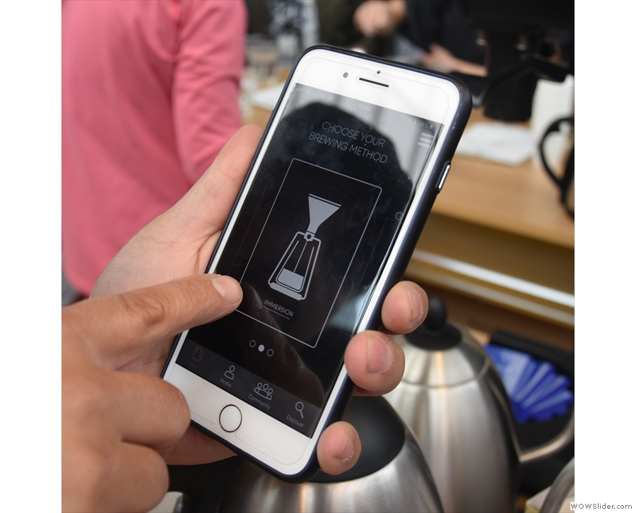 It comes with an app which has cold-brew, immersion (shown here)...