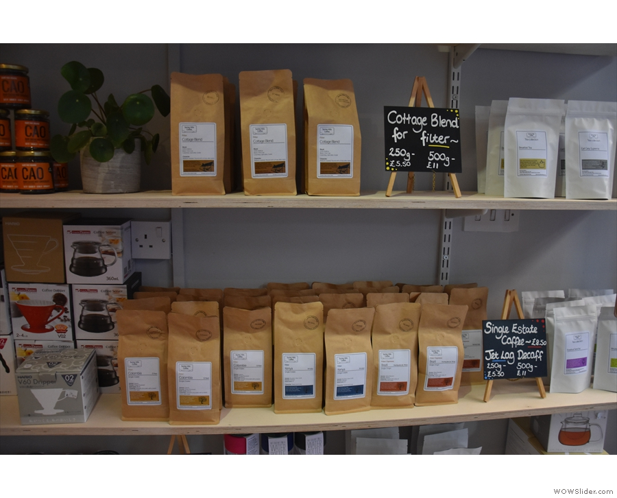... with the usual bags of coffee from Surrey Hills, plus a range of coffee-making kit.
