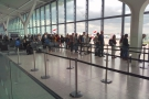 One of the perks of business class: that's the boarding queue for economy...