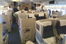 ... and here we are, on-boarding, getting settled into our business cabin at the front.