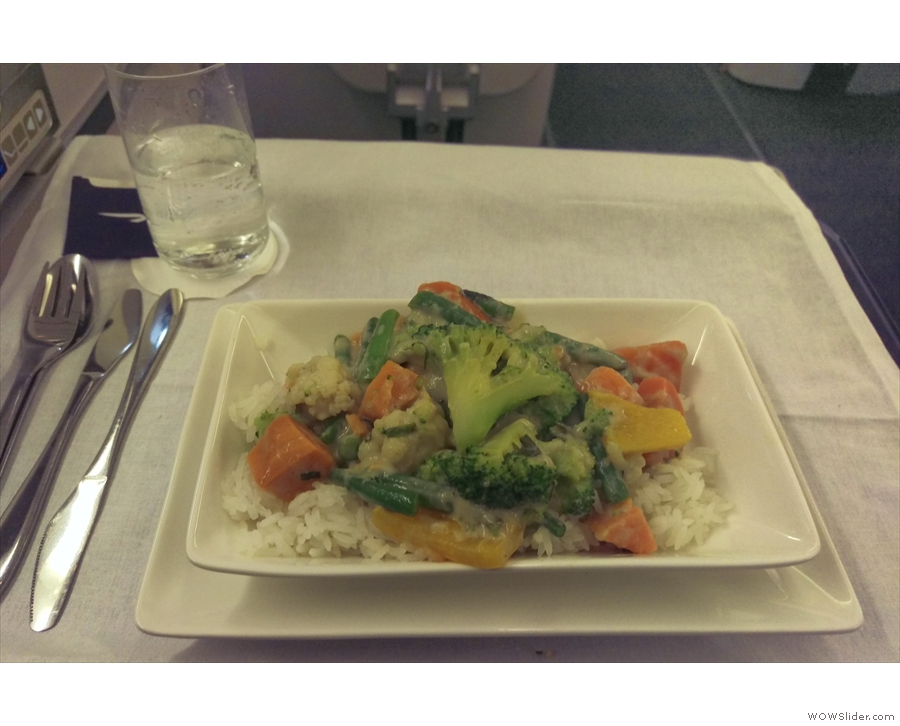 Not long after, my main course, a Thai vegetable curry, was served.
