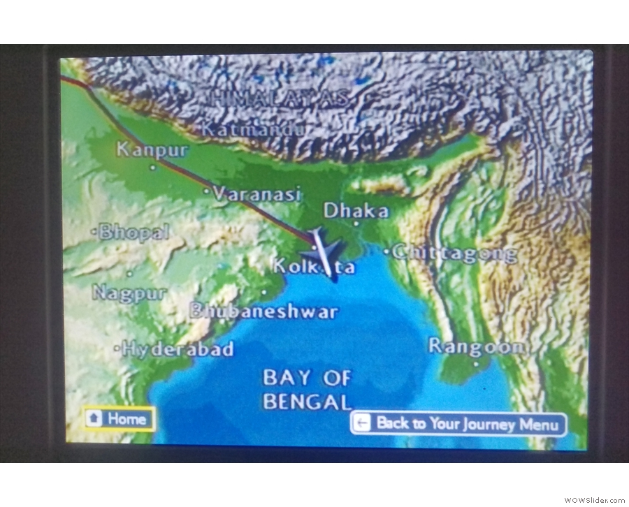 About 20 minutes later, we crossed the coast at Kolkata and head over the Bay of Bengal.