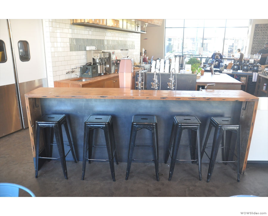 Finally, on the Front Street side, there's a row of stools at the counter.