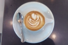 ... with impressive latte art in such a small cup...