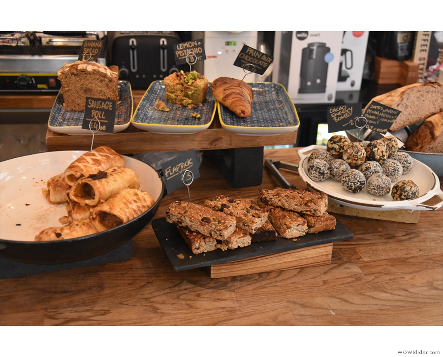 Meanwhile, back on the counter, there are cakes and savouries by the till...