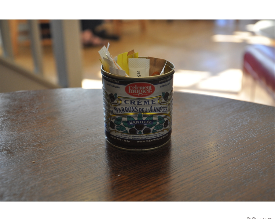... and the recycled tins pressed into use as sugar holders.