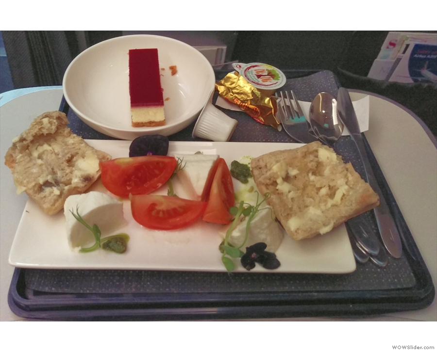... and, impressively for a 30-minute flight, a full meal service in Club World.