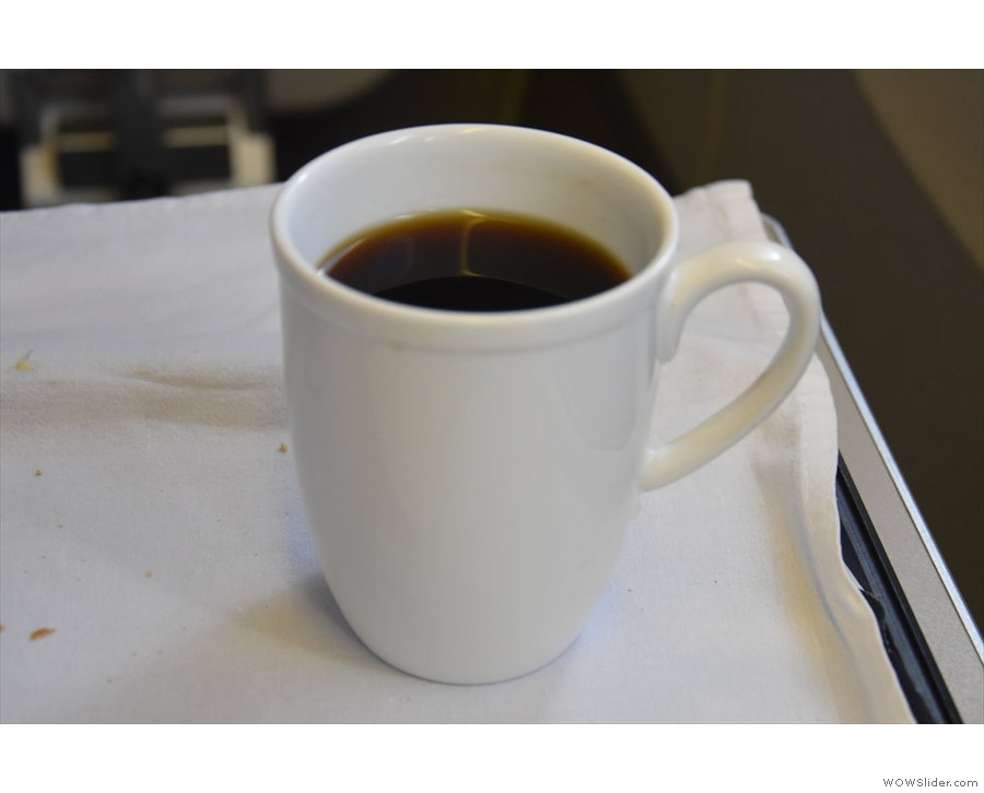 But what's it like when it's served in the air? Here's the coffee I had on my flight to Tokyo.
