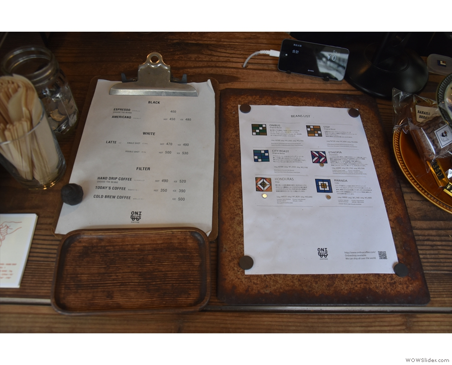 The menu is on the counter (picture from 2018) along with the choice of beans...