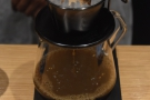... with a gap between the two pours for the coffee to filter through.