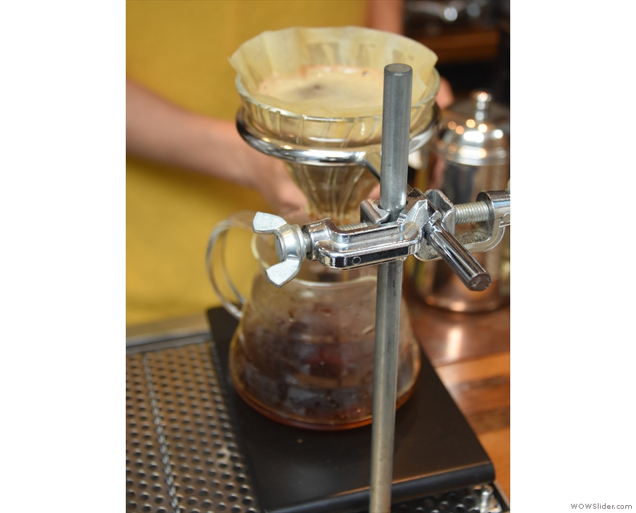 ... with breaks between to allow the coffee to filter through.