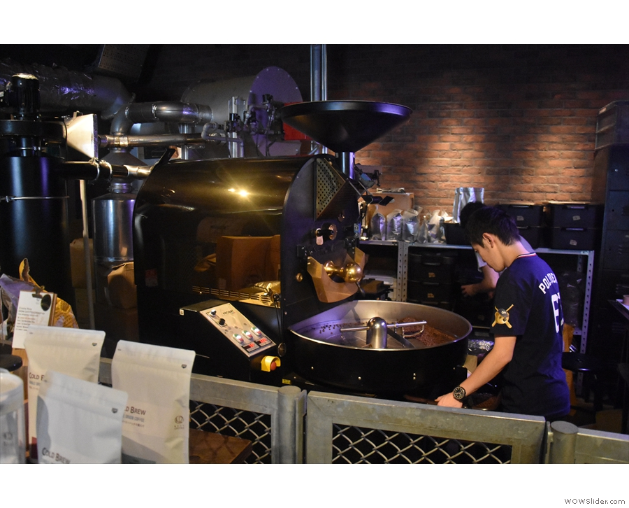 Behind the retail sectioin is the roaster, a 12 kg Probatone...
