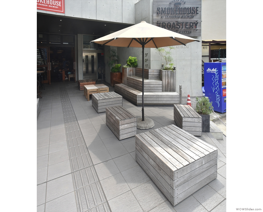 There's plenty of outside seating, including these tiered benches on the right.