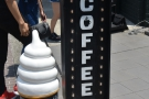 An intriguing sign on Tokyo's famous Cat Street: coffee & ice cream. Ideal in this weather!