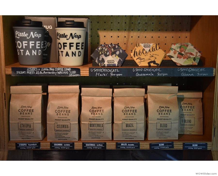Little Nap is also a roaster, with bags of retail coffee for sale...
