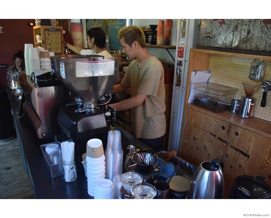 I, however, wanted espresso, so I put the boys to work.