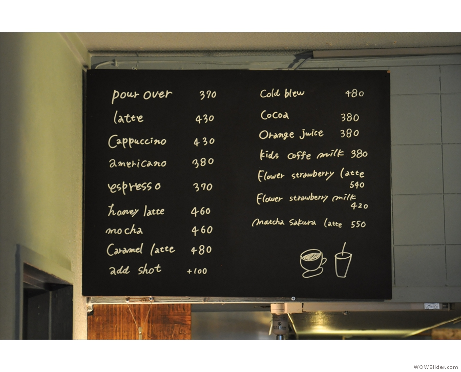 The drink options (seen here from 2017) are on a chalk board by the counter...