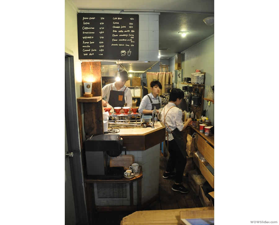 ... with all the coffee being made off-stage in this area behind the counter.