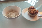 ... a bowl of porridge and a sticky bun instead. I just had time to eat the porridge...