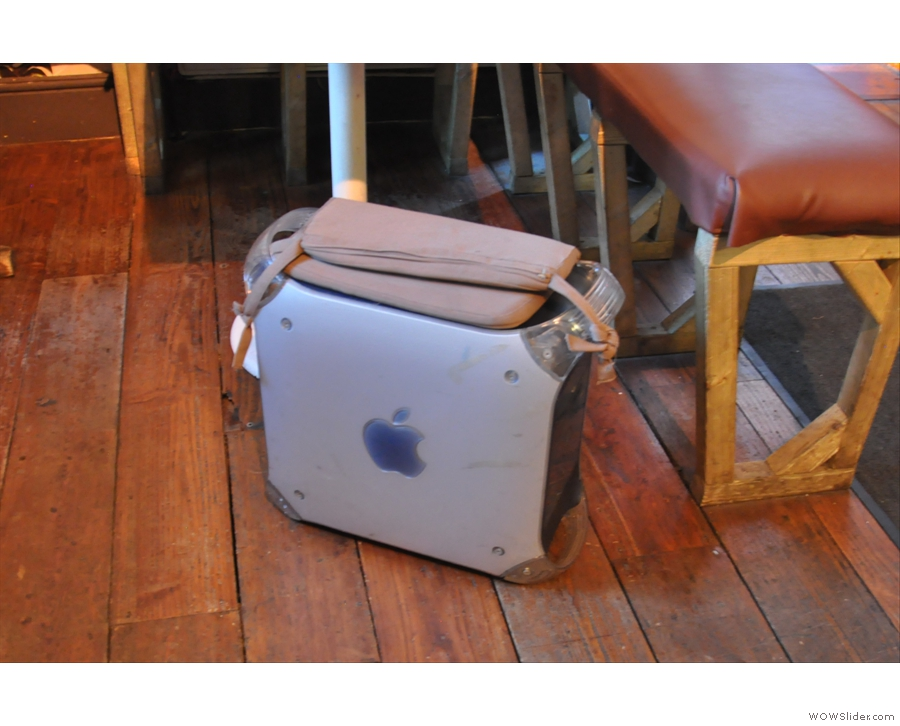 One of the many Apple PCs re-used as stools...