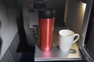 My coffee, back at my seat. Flying Club World has its advantages: proper cups!