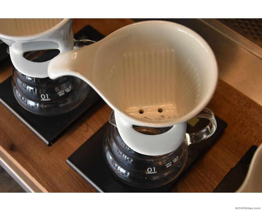 ... using the Zero dripper, similar to a Kalita dripper, but with two holes, not three.