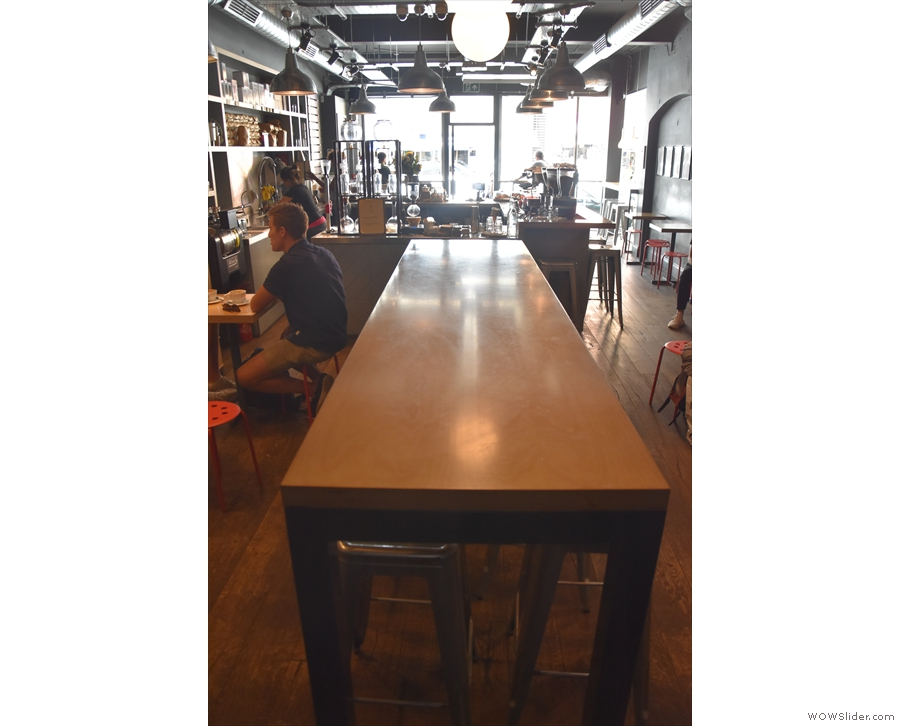 The communal table, as seen from the back.