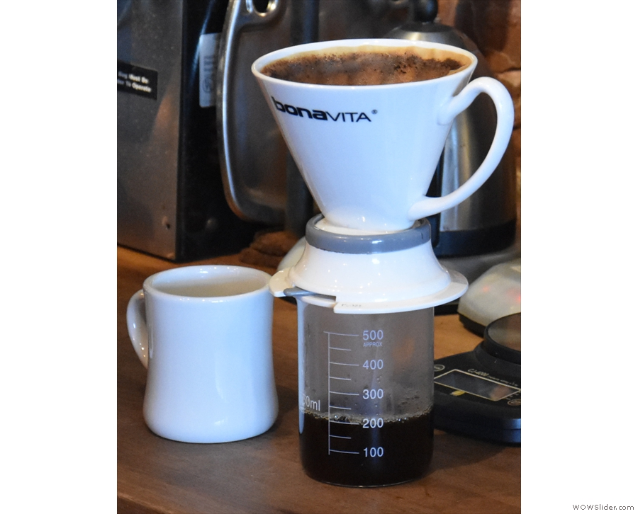 ... which causes the coffee to filter through into the beaker...