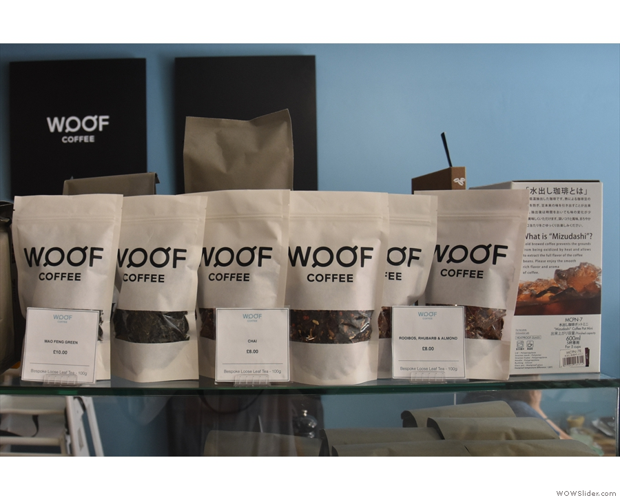 ... while at the far end are various bags of tea, confusingly with (Woof) coffee on them.
