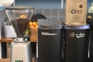 ... along with the grinders, which also tell you which guest coffee is in the hopper.