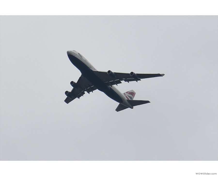 While you're sitting outside, you can watch the planes on their approach to Heathrow.