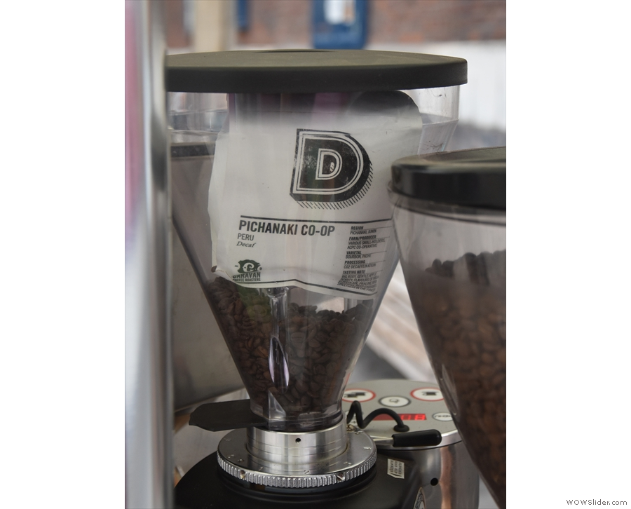 ... while Caravan's Peruvian decaf was in the second grinder.