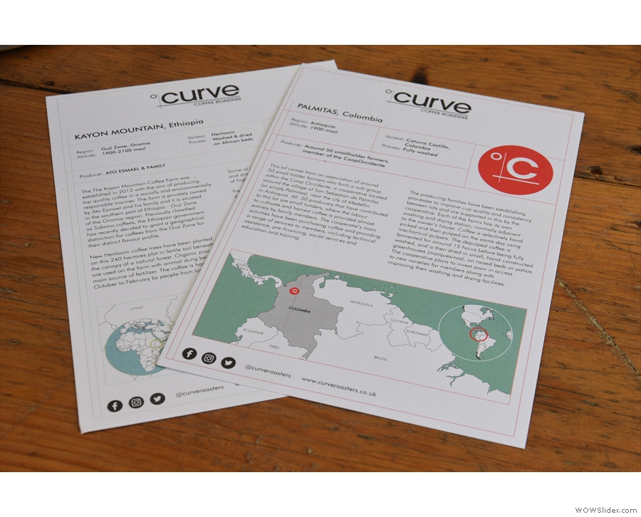 Curve also supplies information sheets for each of the coffees.