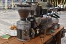 The business end of the Lazy Coffee Cart and its two-group La Marzocco.