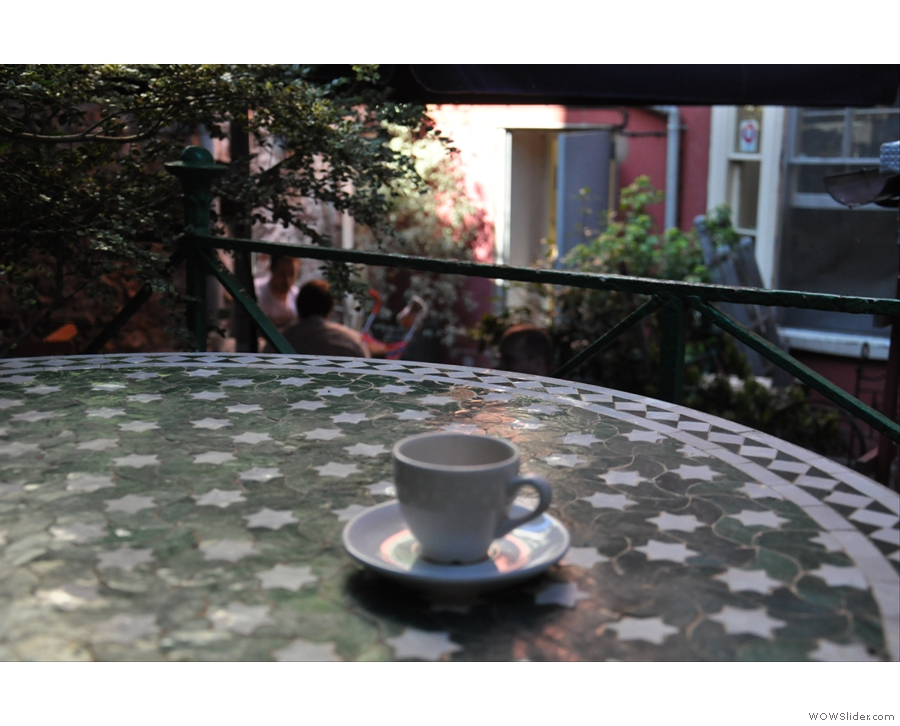 The first ever Coffee Spot: on the terrace of the Boston Tea Party, Park Street, Bristol