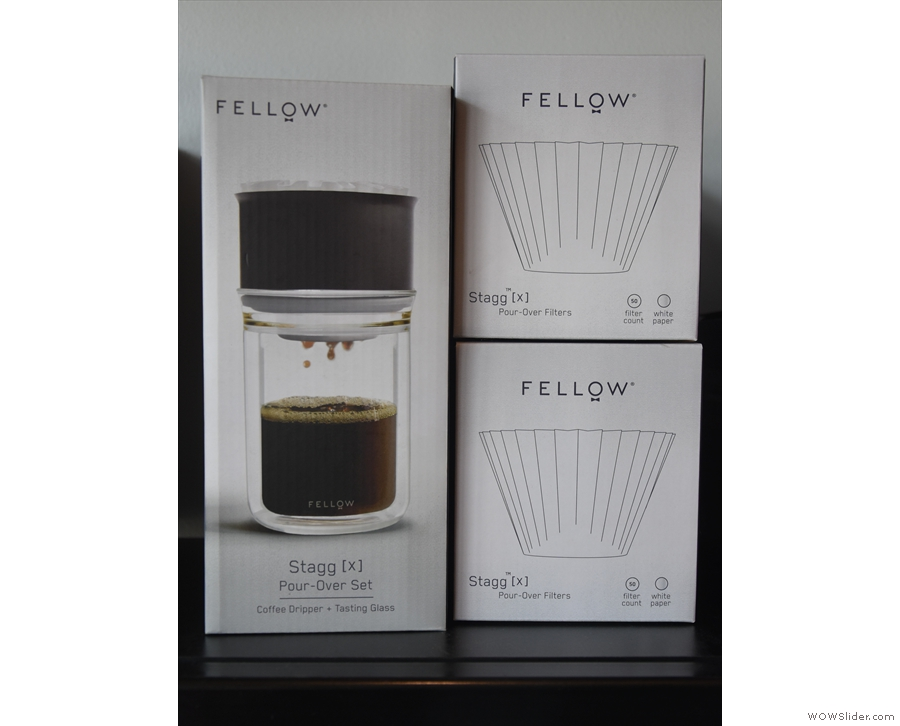 ... and coffee-making equipment, such as these Stagg pour-over fiters from Fellow.