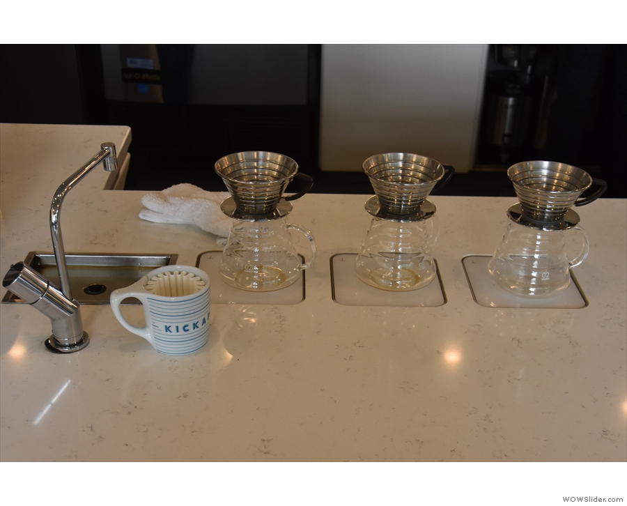 Moving along down the counter and you come to the Kalita Wave pour-over filters...