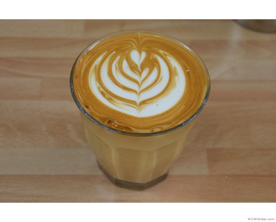 Just for good measure, here's a mocha in a glass with some gorgeous latte art...