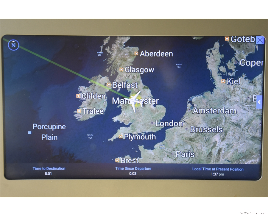 By now, we're three minutes into the flight, with a projected route over Northern Ireland.