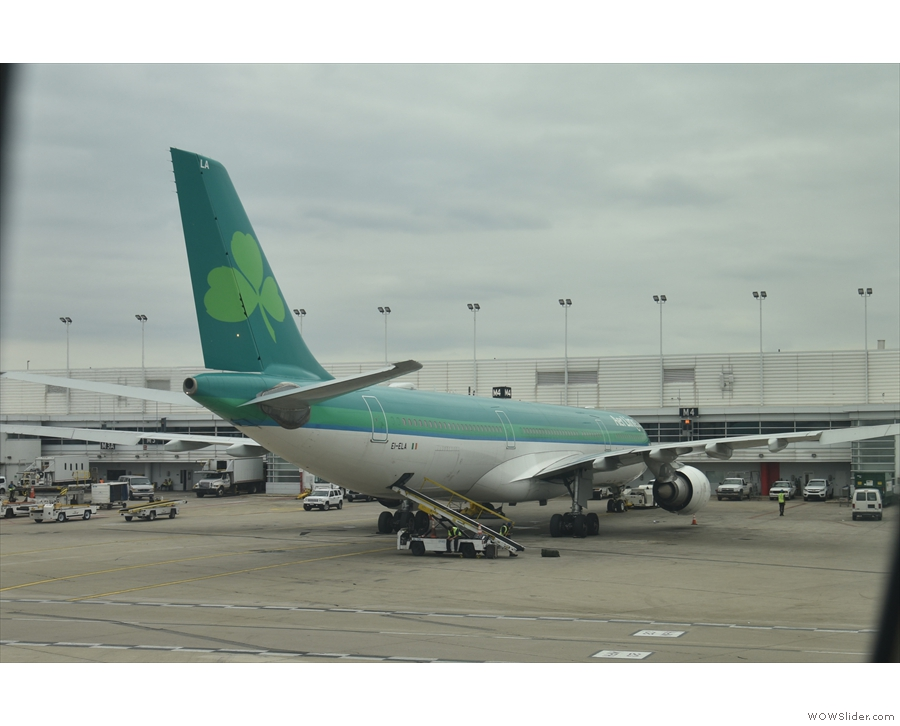 We're now at Terminal 5, where another A330-300, from Aer Lingus, is on stand.
