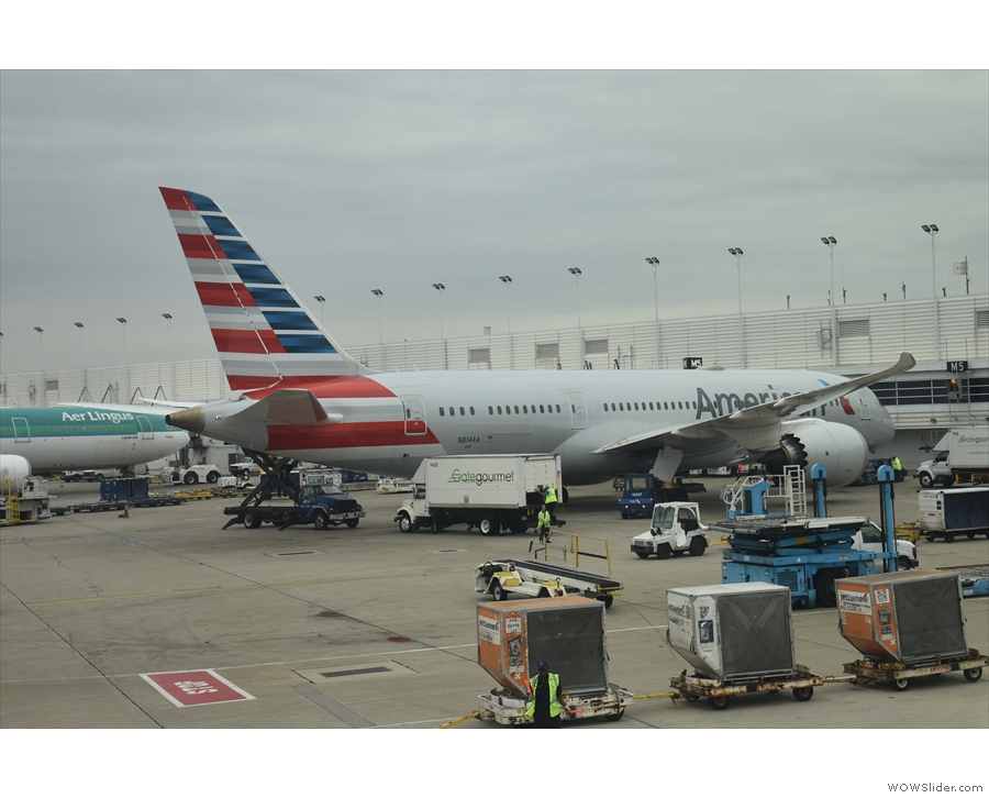 ... while there's another American Airlines Boeing 787-800 to our left.