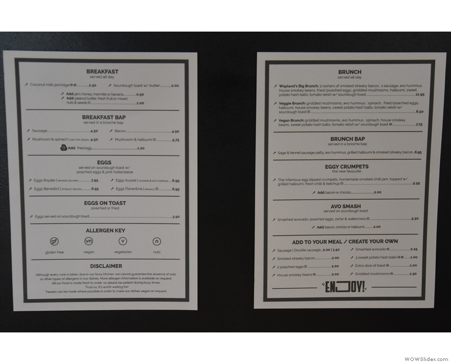 There's also a breakfast and brunch menu, which you can find on the tables.
