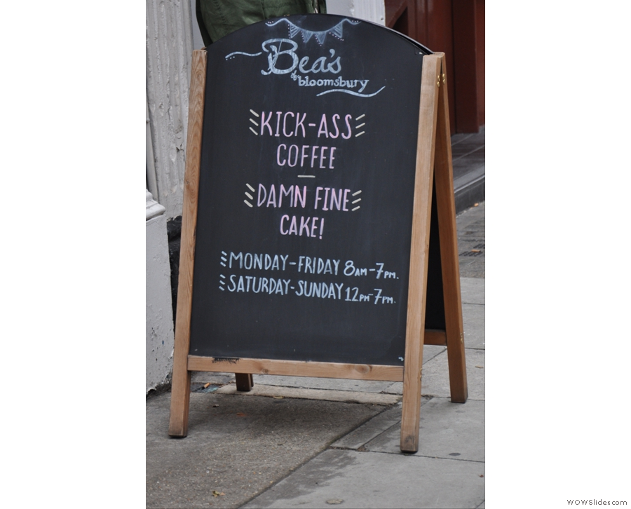 The sign says it all. Bea's is London's equivalent of Mimi's Bakehouse.