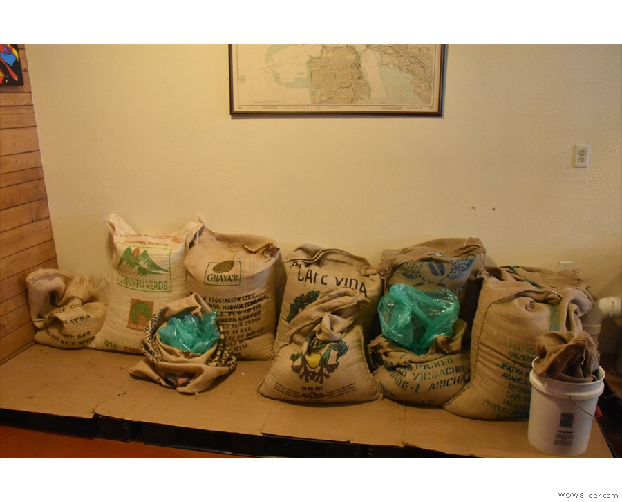 It's a roastery, so here's the obligatory shot of the sacks of green beans...