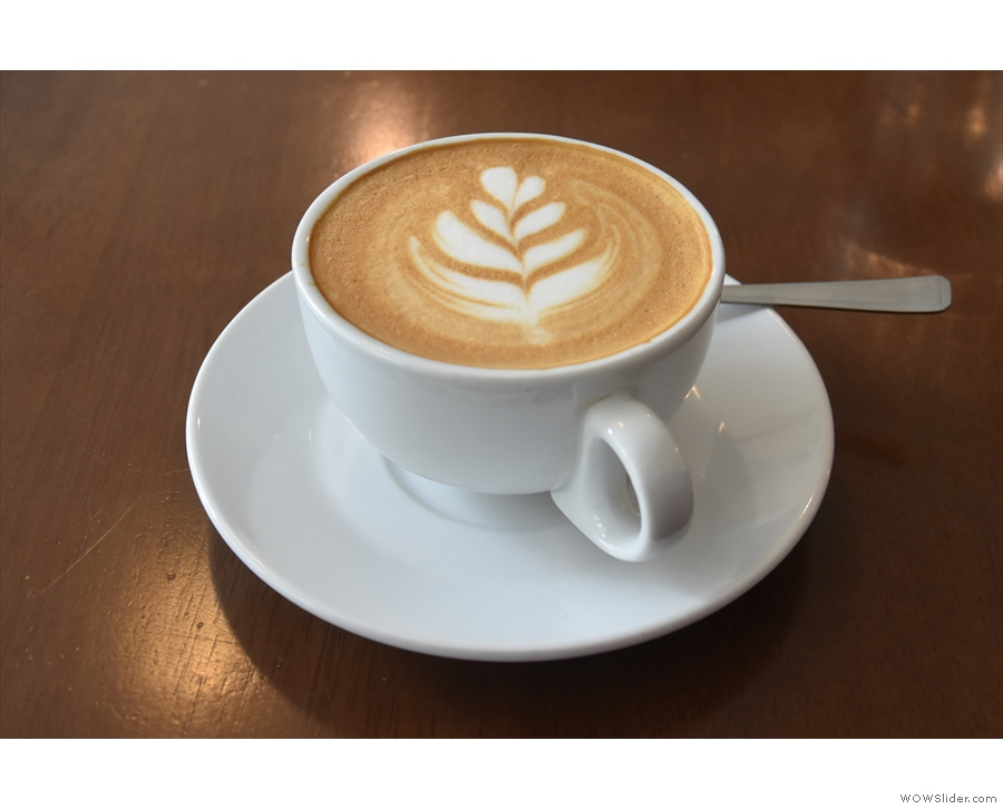 I combined the two with a flat white, using Volcano's Full Steam espresso.