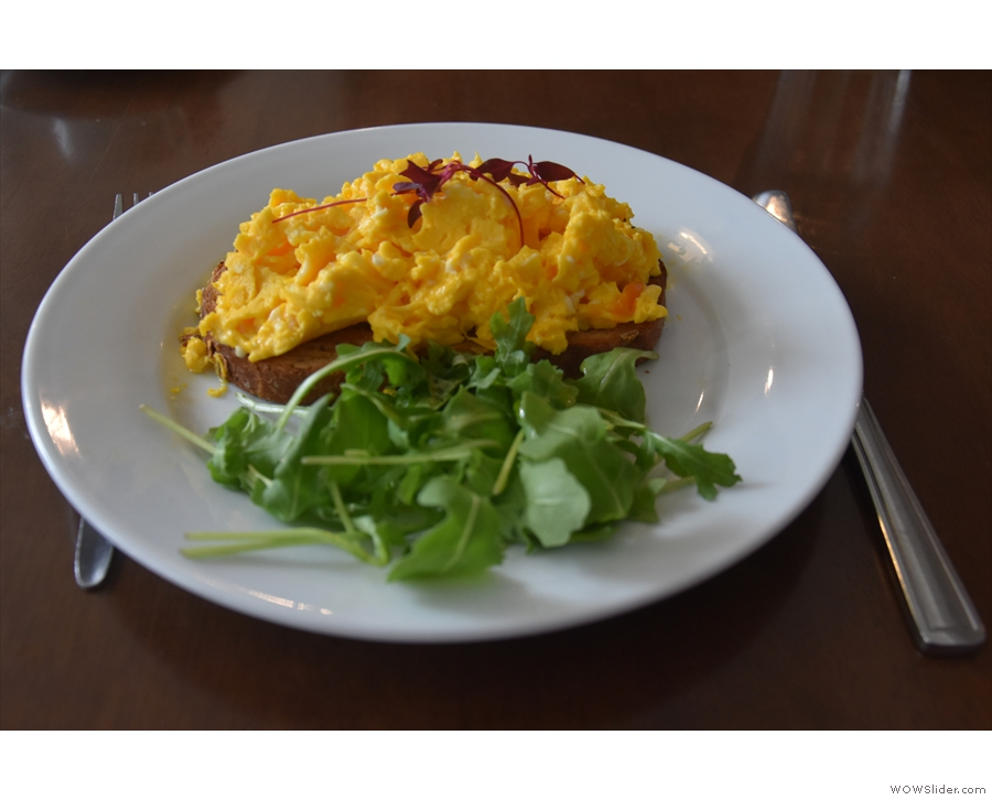 I'll leave you with my lunch, scrambled egg on toast.